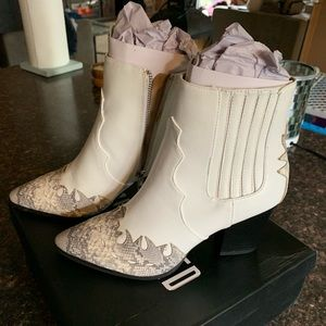 Missguided Snake Toe Cap Western Bootie